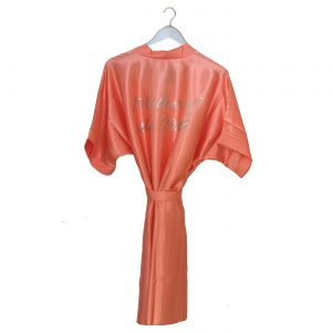Satin Wedding Robe Coral