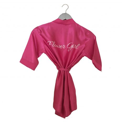 Satin wedding robe fuchsia