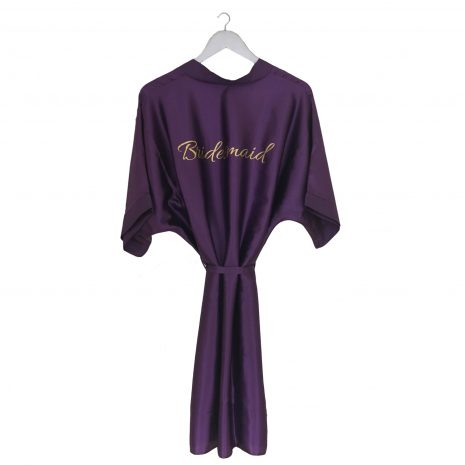 satin wedding robe purple