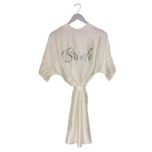 satin wedding robe ivory