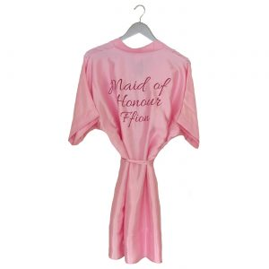 Satin wedding robe pink