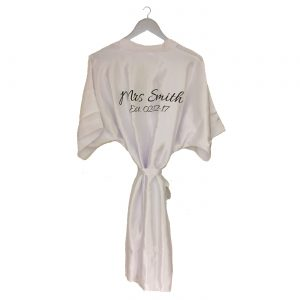 Satin Wedding Robe White