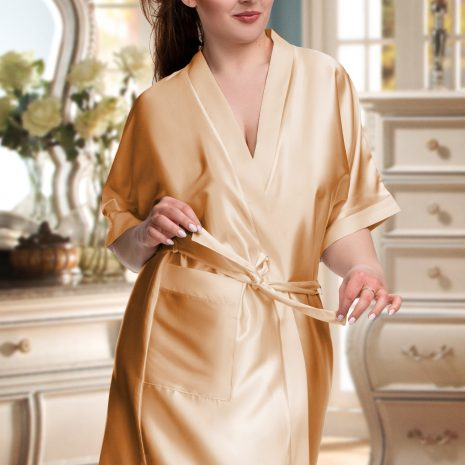 gold satin robe