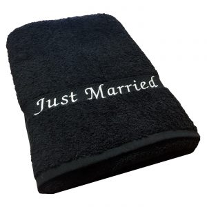 just married beach towel black