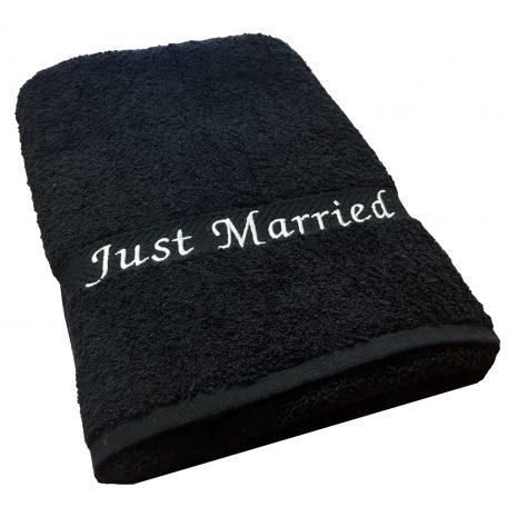 just married beach towel black