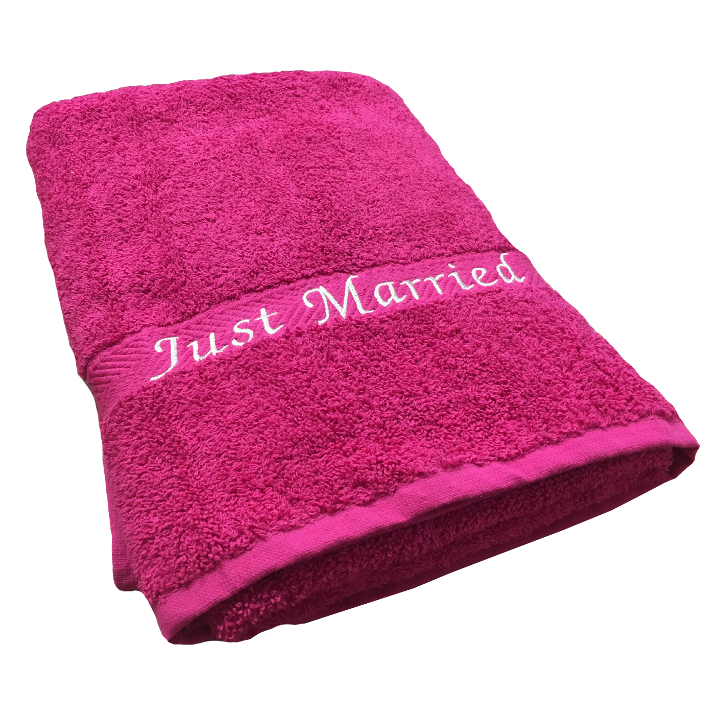 just married towel fuchsia