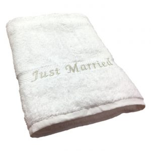Just Married Beach Towel White
