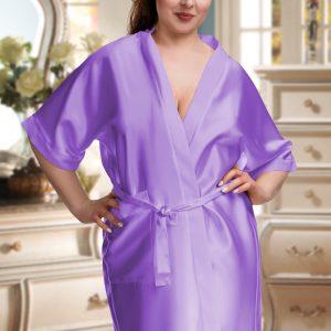 lilac satin robe