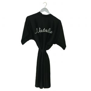 Satin wedding robe black