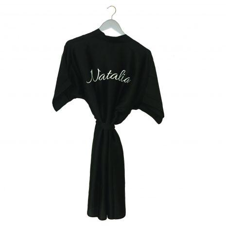 Satin wedding robe black