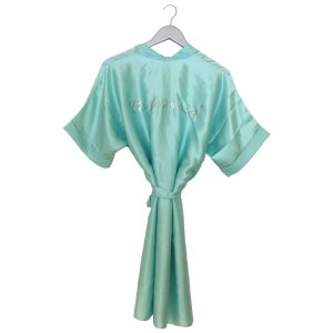 Satin Wedding Robe mint green