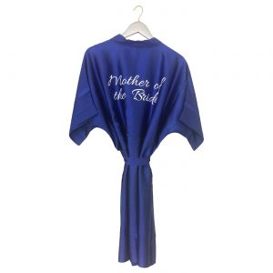 Satin Wedding Robe Royal Blue