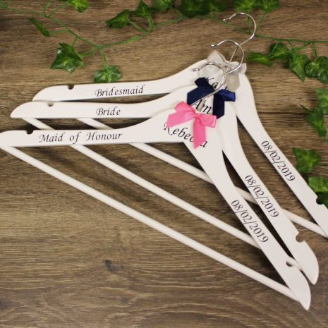 wedding hangers white with bow 2