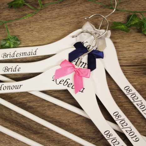 wedding hangers white with bow