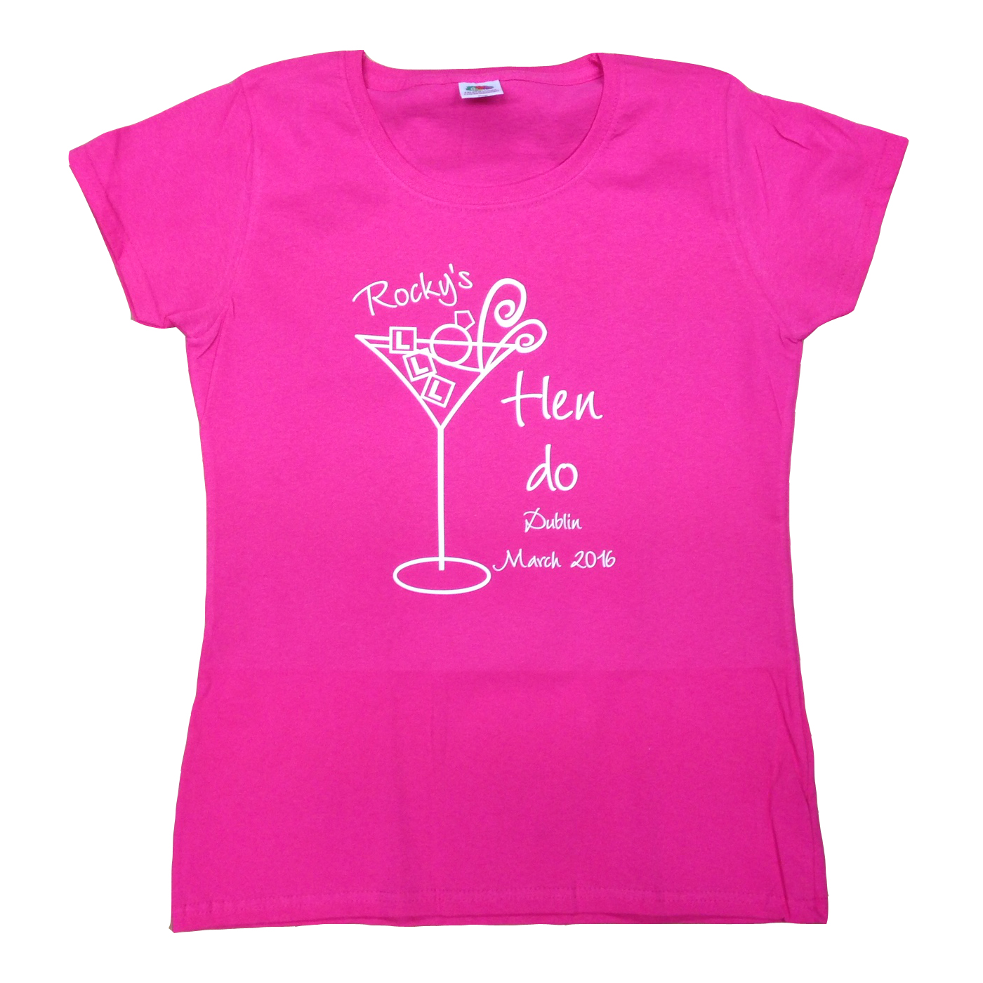 Cocktail glass t shirt hen party t shirts forever memories for Hen party t shirts
