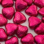 foiled wrapped chocolate hearts cerise