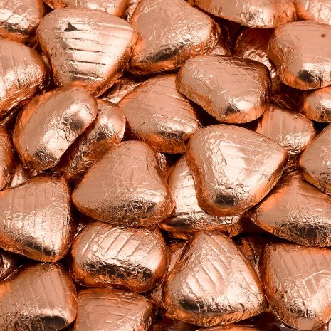 foiled wrapped chocolate hearts copper