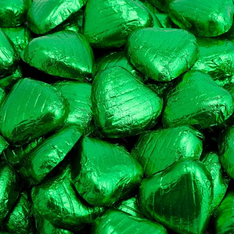 foiled wrapped chocolate hearts emerald