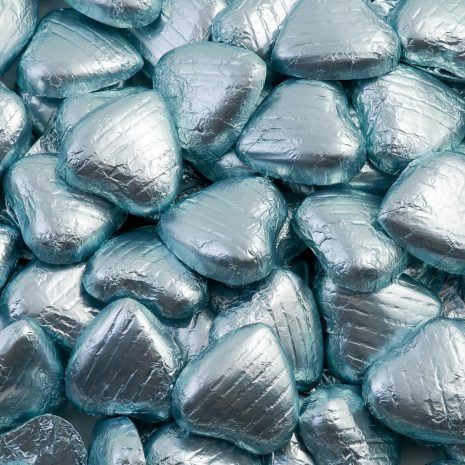 foiled wrapped chocolate hearts light blue