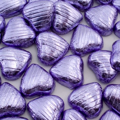 foiled wrapped chocolate hearts lilac
