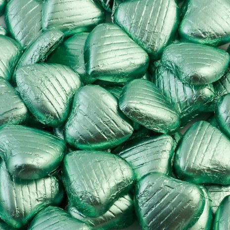 foiled wrapped chocolate hearts pale green