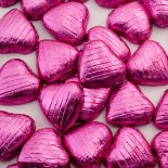 foiled wrapped chocolate hearts pink
