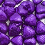 foiled wrapped chocolate hearts purple