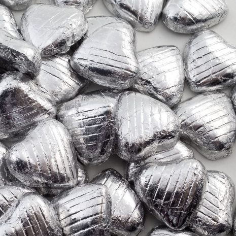 foiled wrapped chocolate hearts silver