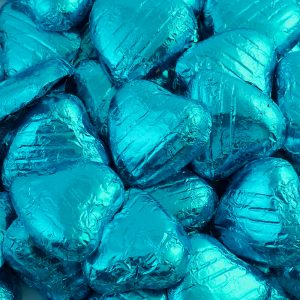 foiled wrapped chocolate hearts turquoise