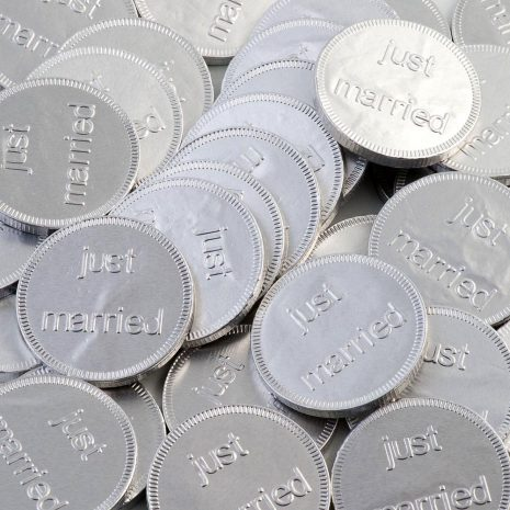 just married silver coins