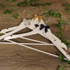 Personalised White Wedding Hangers With Bow