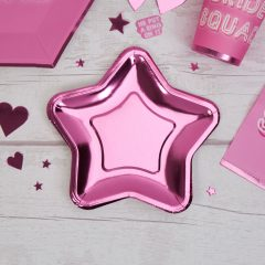 Small Pink Foil Star Plate