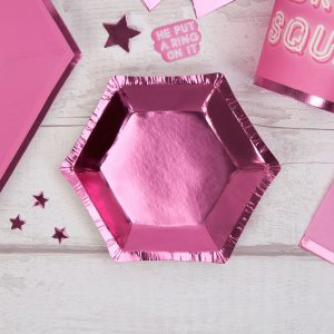 Small Pink Foil Hexagonal Plate