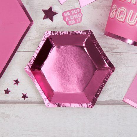 Small Pink Foil Hexagonal Plate